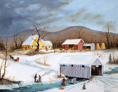 Covered Bridge Painting - Winter Crossing by Joseph Holodook