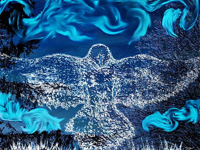 Imagination Mixed Media - Winter Crow by Abstract Angel Artist Stephen K