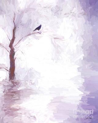 Cloudscape Digital Art - Winter Crow by Jim  Hatch