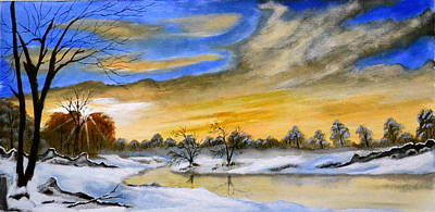 Sun Rays Painting - Winter Dawn by Deepa Sahoo
