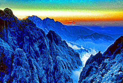 Mixed Media - Winter Dawn Huangshan by Dennis Cox Photo Explorer