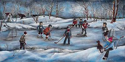 Canadian Sports Artist Painting - Winter Days by Patsy Cormier