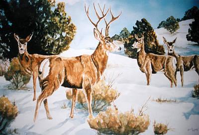 Buck And Doe Painting - Winter Deer by Cheryl Bishop