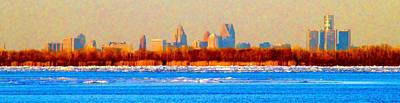 Graduation Hats Royalty Free Images - Winter Detroit Pano RM Royalty-Free Image by Daniel Thompson
