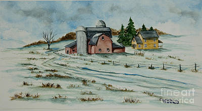 New England Snow Scene Painting - Winter Down On The Farm by Charlotte Blanchard