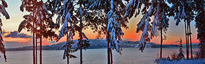 Winter Drama Sunrise Panorama Art Print by Mary Gaines