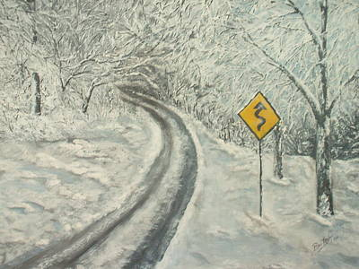 Slushy Painting - Winter Driving by Bev  Neely