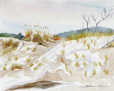 Painting - Winter Dunes, Sand Dunes, Michigan Beach, Sleeping Bear Dunes by LeAnne Sowa
