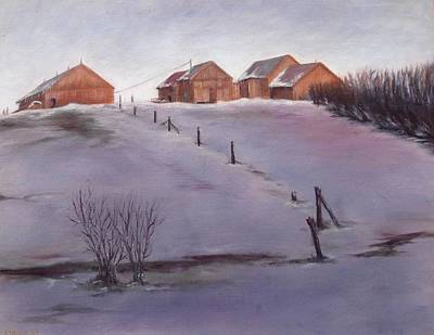 Art Print featuring the painting Winter Dusk by Diane Daigle