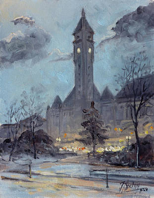 Painting - Winter Dusk - Union Station by Irek Szelag