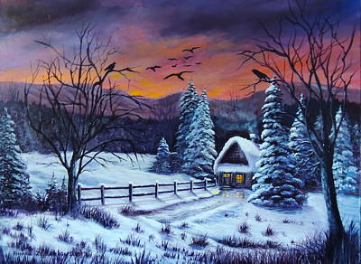 Painting - Winter Evening 2 by Bozena Zajaczkowska