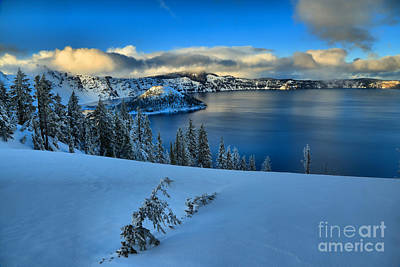 Photograph - Winter Evening At Crater Lake by Adam Jewell
