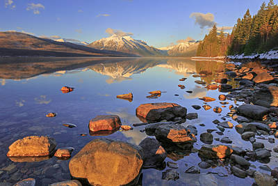 Photograph - Winter Evening At Lake Mcdonald by Jack Bell
