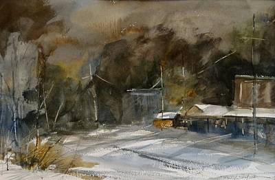 Painting - Winter Evening In A Small Town by Sandra Strohschein