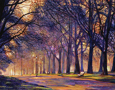 Impressionism Paintings -  Winter Evening In Central Park by David Lloyd Glover