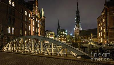 Winter Evening In Hamburg  Art Print