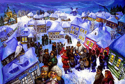 Roussimoff Wall Art - Painting - Winter Evening In The Old Country by Ari Roussimoff