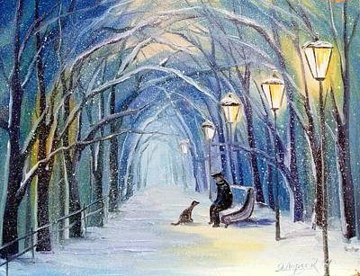 Winter Evening Print by Olha Darchuk
