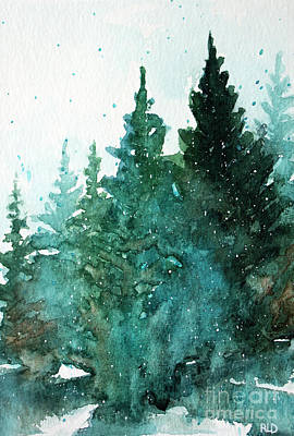 Painting - Winter Evergreens by Rebecca Davis