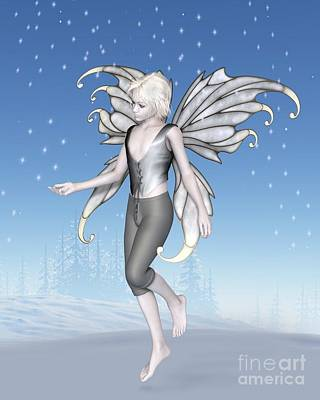 Digital Art - Winter Fairy Boy With Sparkling Snowflakes by Fairy Fantasies