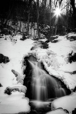 Photograph - Winter Falls With Sun by Alan Raasch