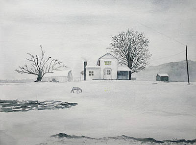 Painting - Winter Farm 2 by Christine Lathrop