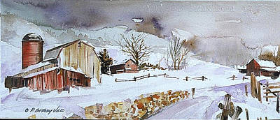 Stonewall Painting - Winter Farm Country by P Anthony Visco