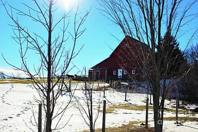 Photograph - Winter Farm House by Laura Kinker