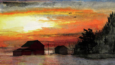 Painting - Winter Farm by R Kyllo