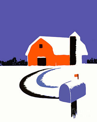 Winter Farm Scene Poster Graphic Art Print by Edward Fielding