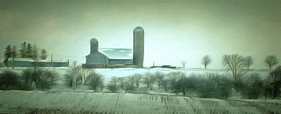 Digital Art - Winter Farm Vista  by Leslie Montgomery
