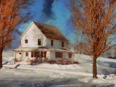 Photograph - Winter Farmhouse - Skies Were So Blue by Janine Riley
