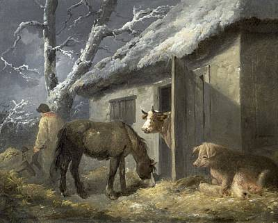 Sow Painting - Winter Farmyard by George Morland