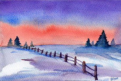 Painting - Winter Fence by Clara Sue Beym