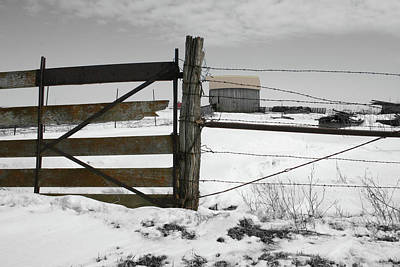 Winter Fence Farm Art Print
