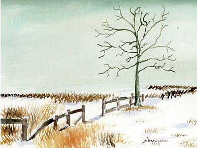 Painting - Winter Field by John Bennett