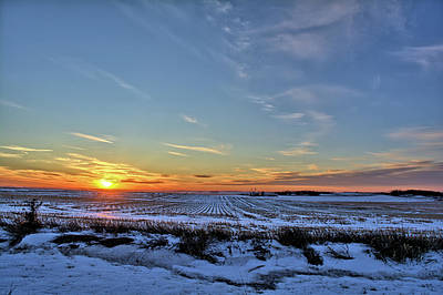 Photograph - Winter Field Sunset 2 by Bonfire Photography