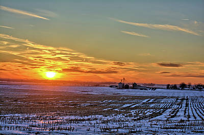 Photograph - Winter Field Sunset by Bonfire Photography