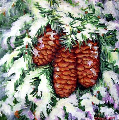 Winter Fir Cones Art Print