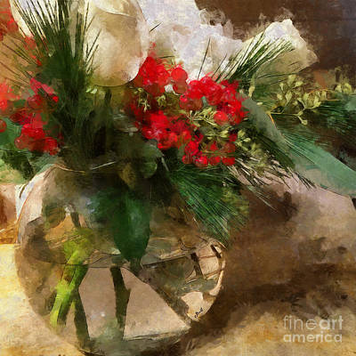 Winter Flowers In Glass Vase Art Print