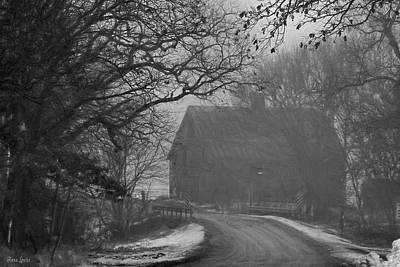Photograph - Winter Foggy Countryside Road And Barn 2 by Anna Louise