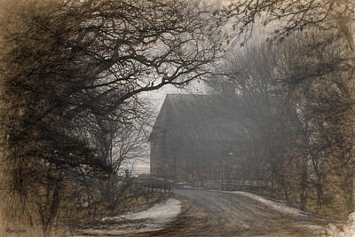 Old Country Roads Digital Art - Winter Foggy Countryside Road And Barn by Anna Louise
