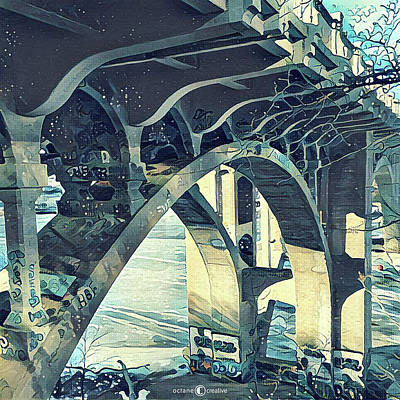 Painting - Winter Ford Bridge by Tim Nyberg