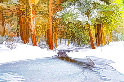 Snowy Brook Painting - Winter Forest And A River With Snow And Ice by Lanjee Chee