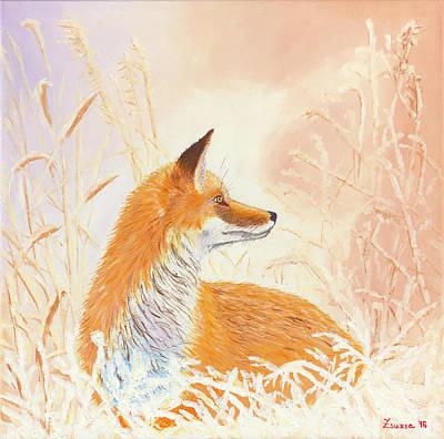 Fox Painting - Winter Fox by Zsuzsanna Rossetter