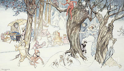 Snow Scenes Drawing - Winter Frolic by Arthur Rackham