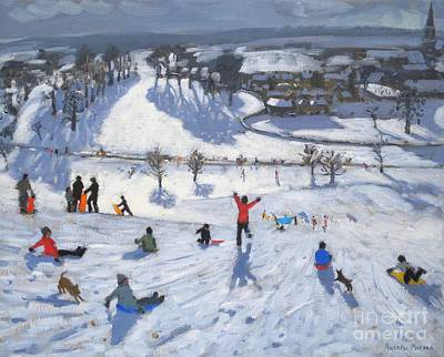 Christmas Card Painting - Winter Fun by Andrew Macara