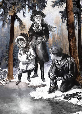 Digital Art - Winter Fun In The Woods by Pennie McCracken