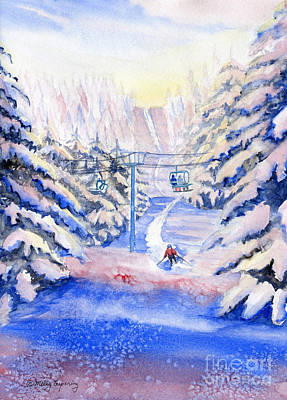 Skiing Action Painting - Winter Fun by Melly Terpening