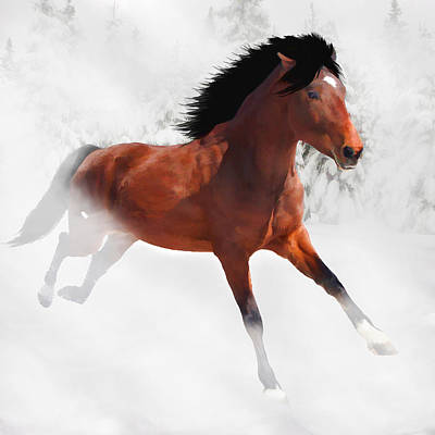 Digital Art - Winter Gallop by Davandra Cribbie